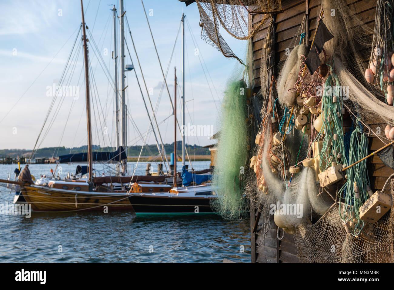 Habour scene of Gager, island of Rügen, Baltic Sea, Mecklenburg-West Pomerania, Germany - Stock Image