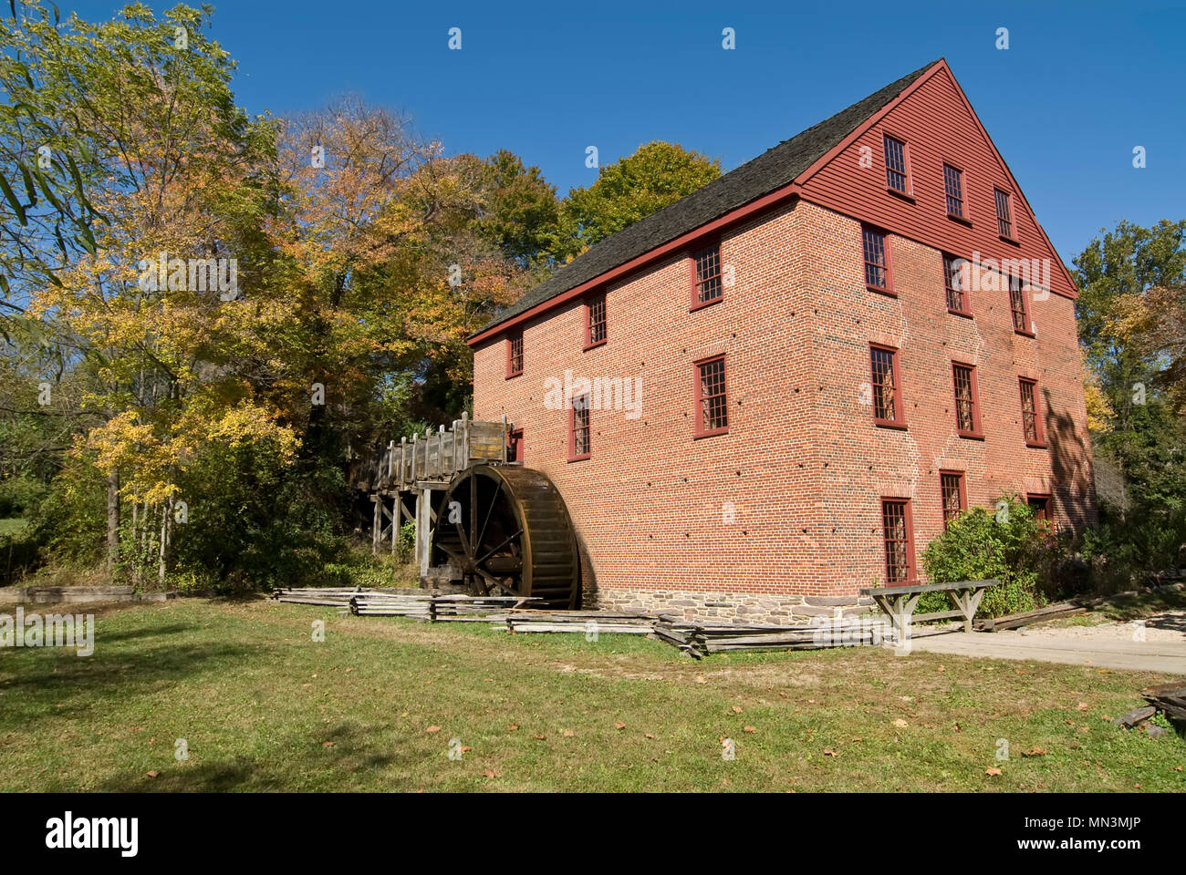 The historic Colvin Run Mill in Great Falls Virginia. This restored mill is still in working order and actual ground mill can be purchased. - Stock Image