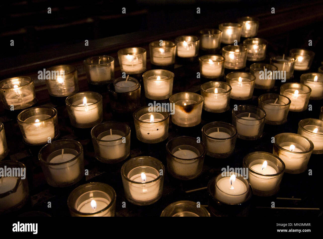 Prayer candles lit at the National Cathedral in Washington