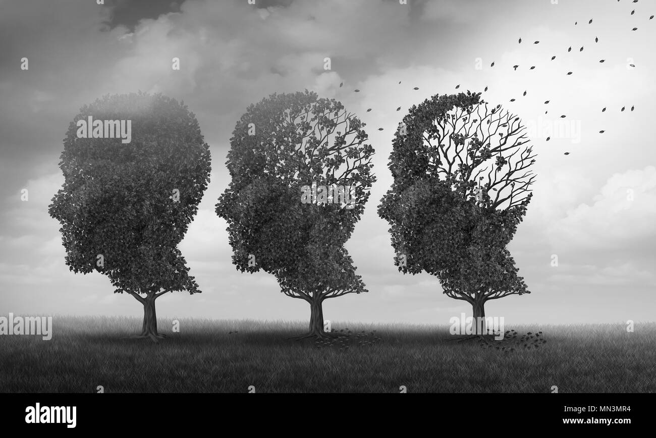 Concept of memory loss and brain aging due to dementia and alzheimer's disease as a medical icon with fall trees shaped as a human head. - Stock Image