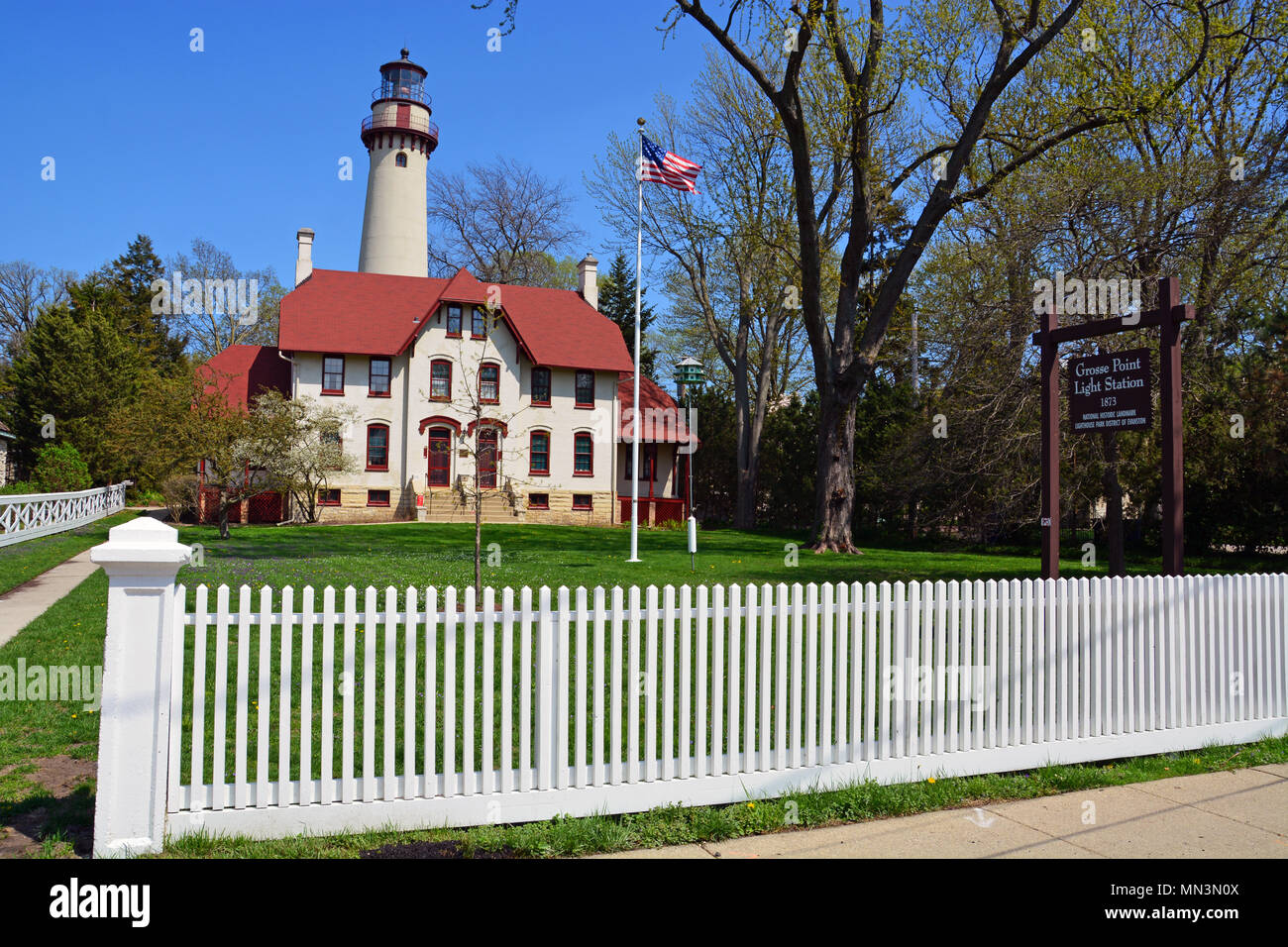 The Grosse Point Light Station was dedicated in 1873 and guided shipping on Lake Michigan off Evanston IL. Today the lighthouse is a maritime museum. - Stock Image
