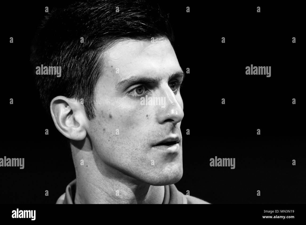 Roger Federer vs Novak Djokovic during the Singles Final of the 2015 Barclays ATP World Tour Finals - O2 Arena London England. 22 November 2015 - Stock Image