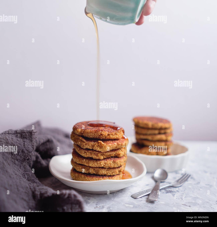 Quinoa Pancake Stack, Light Background - Stock Image