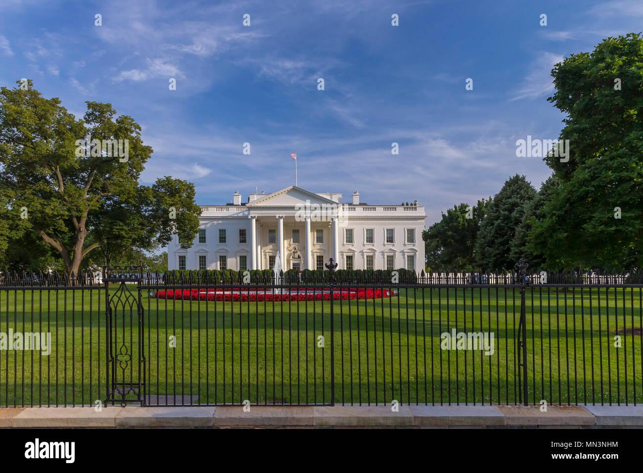 Summer evening, South Facade, White House, Washington DC, USA, North America - Stock Image