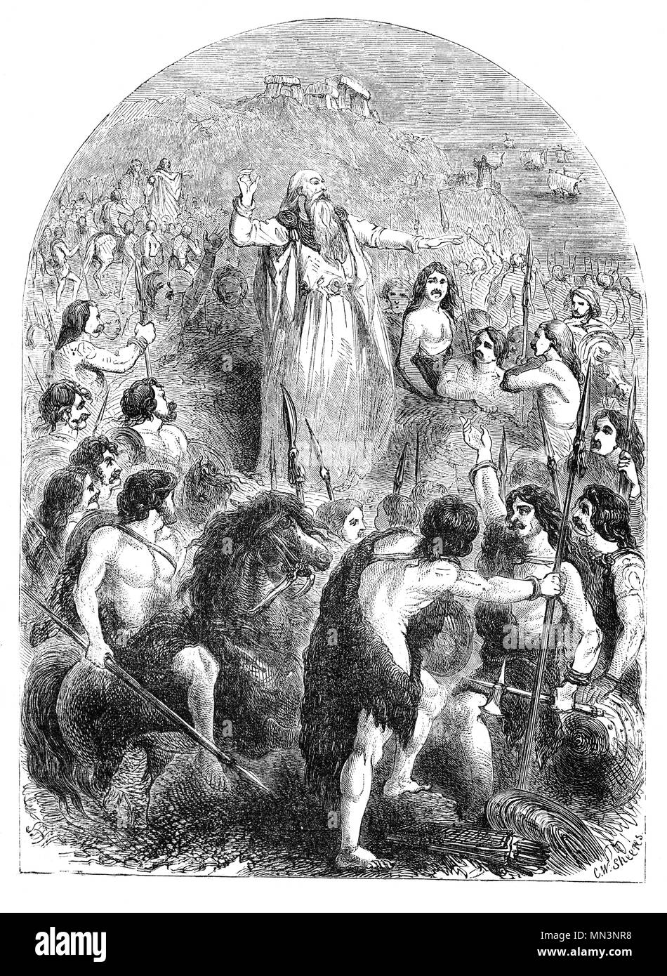 A druid inciting the Britons to oppose the Landing of the Romans. A high-ranking professional class in ancient Celtic cultures, they were best remembered as religious leaders, but they were also legal authorities, adjudicators, lorekeepers, medical professionals and political advisors. While the druids are reported to have been literate, they are believed to have been prevented by doctrine from recording their knowledge in written form, thus they left no written accounts of themselves. - Stock Image