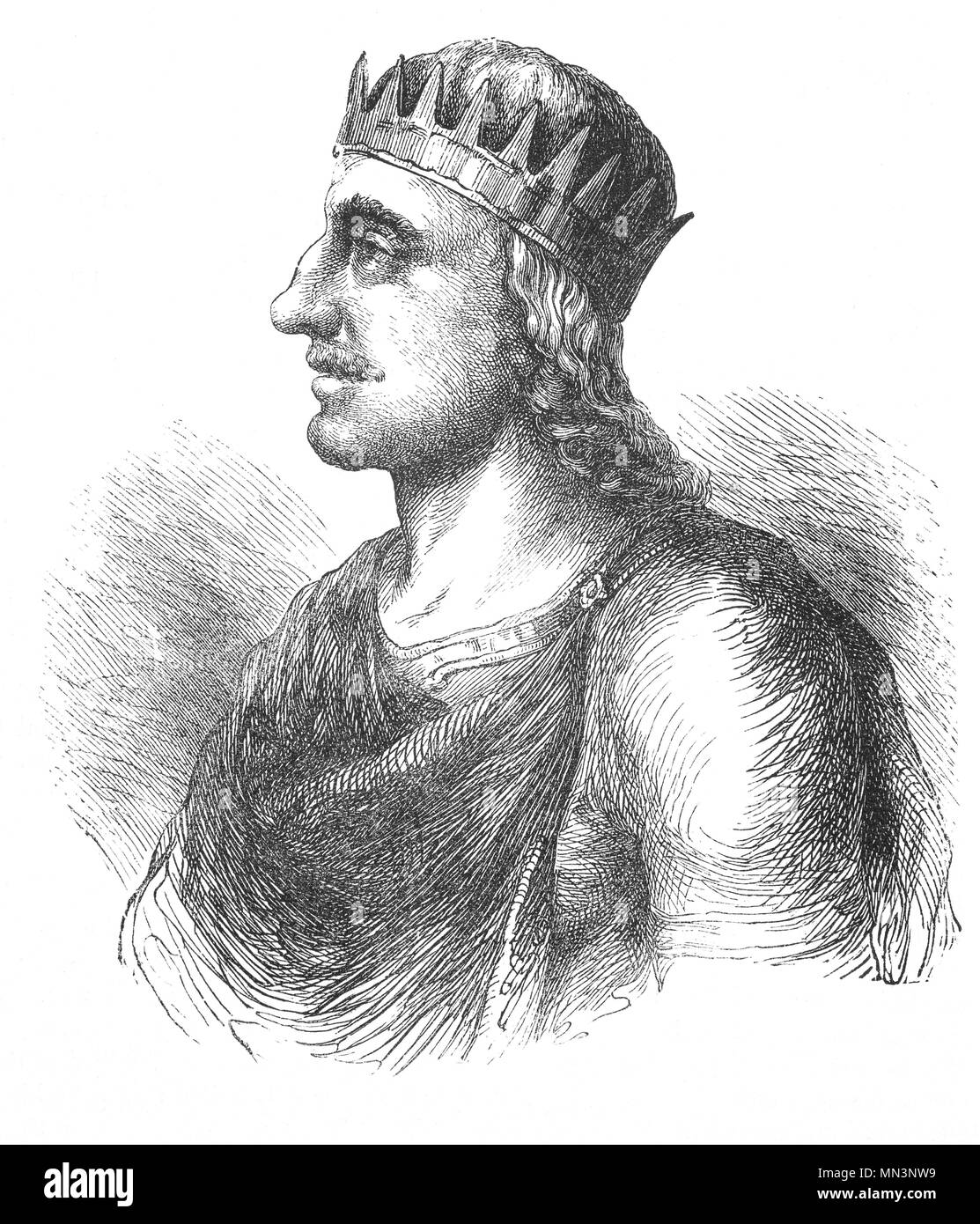 Ecgberht (77–839), also spelled Egbert, Ecgbert, or Ecgbriht, was King of Wessex from 802 until his death in 839. Little is known of the first 20 years of Ecgberht's reign, but it is thought that he was able to maintain the independence of Wessex against the kingdom of Mercia, which at that time dominated the other southern English kingdoms. In 825 Ecgberht defeated Beornwulf of Mercia, temporarily ruling Mercia directly.  He was however, unable to maintain this dominant position, and within a year he lost the throne of Mercia, but retained control of Kent, Sussex, and Surrey. - Stock Image