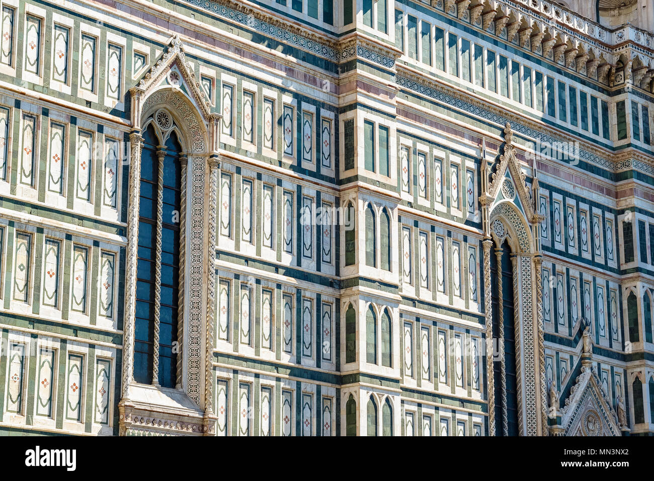 Exterior of the Cattedrale di Santa Maria del Fiore (Cathedral of Saint Mary of the Flower) in Florence, Italy - Stock Image