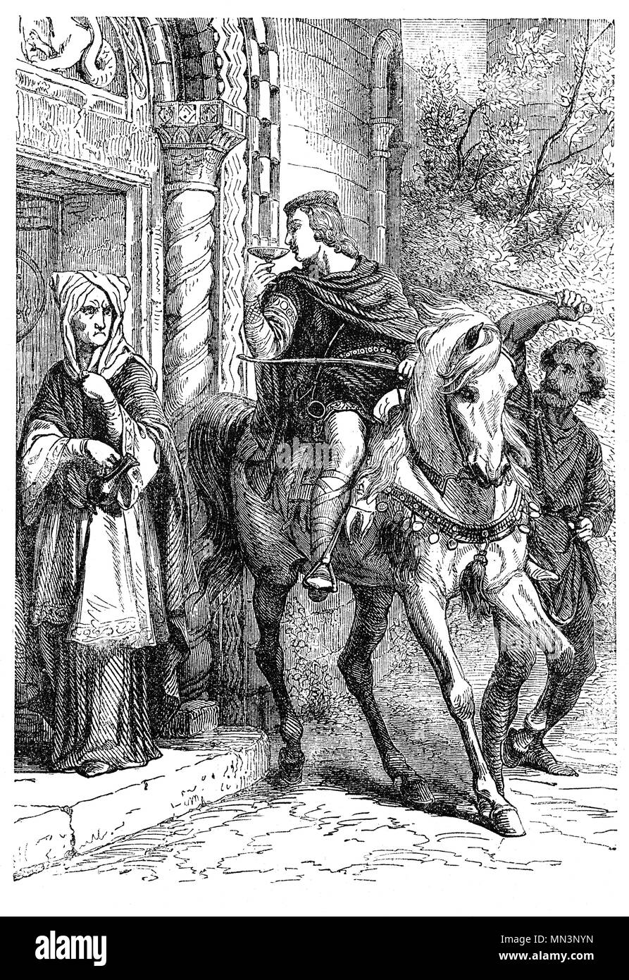 Edward the Martyr (962 – 978) was King of England from 975 until murdered in 978. He was the eldest son of King Edgar the Peaceful but on Edgar's death, some supported Edward's claim to be king, others his younger half-brother Æthelred the Unready. Edward was chosen as king. He was murdered in the evening of 18 March 978, while visiting Ælfthryth and Æthelred, probably at or near the mound on which the ruins of Corfe Castle now stand. There are several possible motives behind Edward's killing with Æthelred as the main suspect. - Stock Image