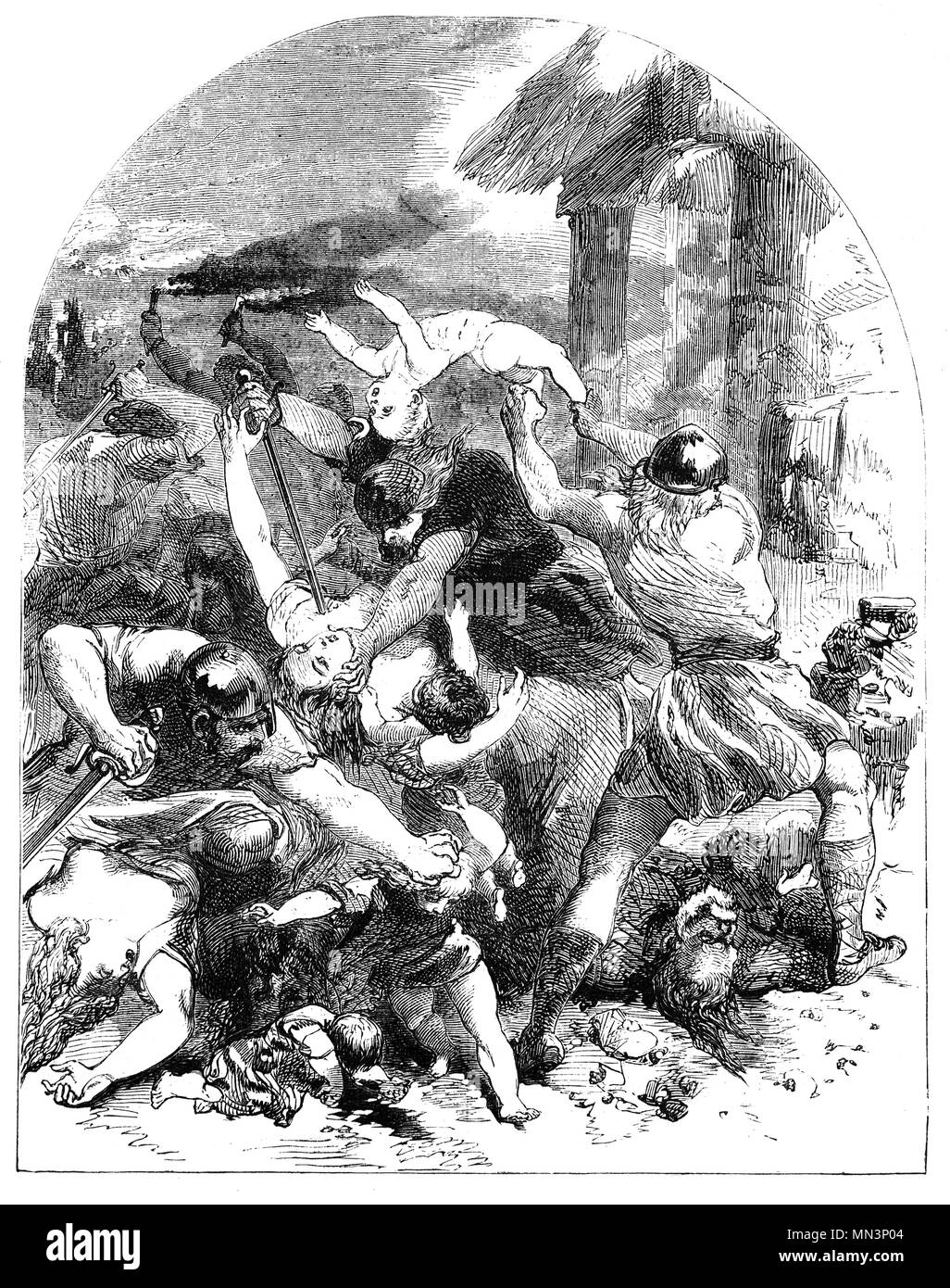 The St. Brice's Day massacre of England's Danish inhabitants ordered by Aethelred the Unready in November 1002, during which King Sweyn's sister and brother-in-law are said to have been killed.  Sweyn Forkbeard ((960 – 1014) was king of Denmark during 986–1014. He was the father of King Harald II of Denmark, King Cnut the Great and Queen Estrid Svendsdatter.  In 1000 Sweyn ruled most of Norway. In 1013, shortly before his death, he became the first Danish king of England after a long effort. - Stock Image