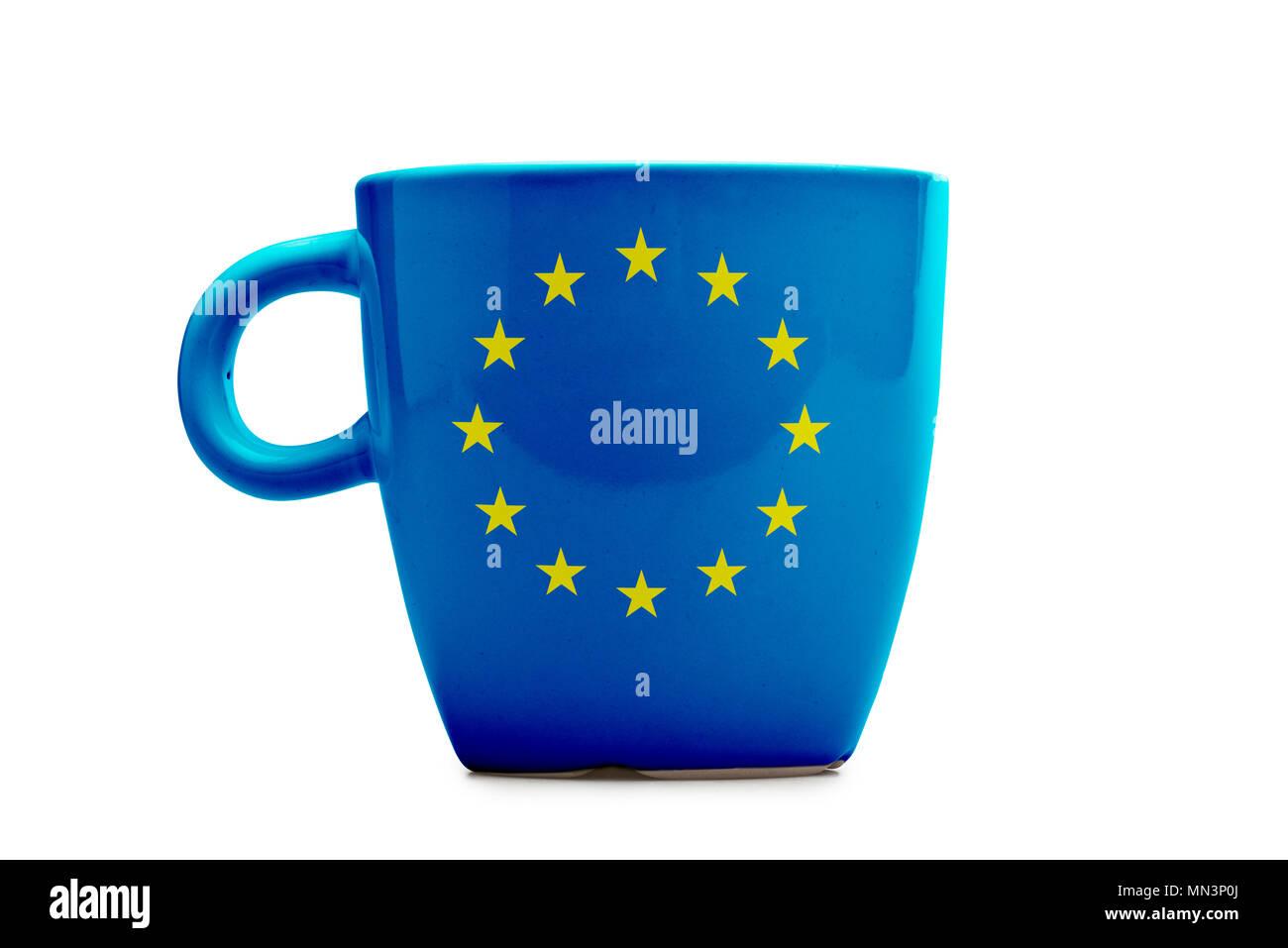 Elegant tea or cafe flagged mug isolated. Europa flag - Stock Image