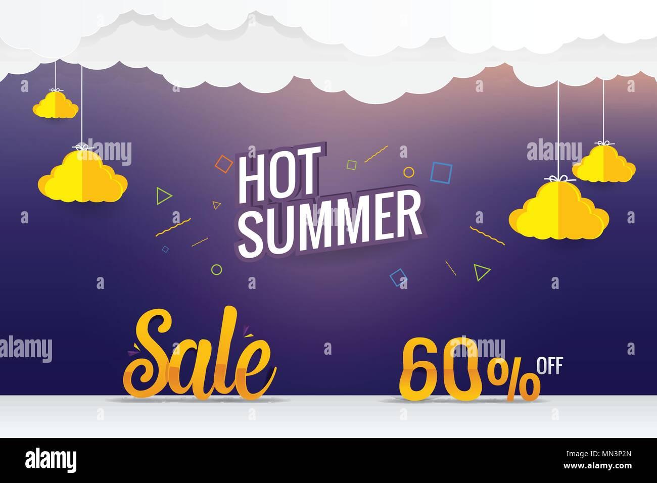 paper art hot summer sale vector template design - Stock Vector