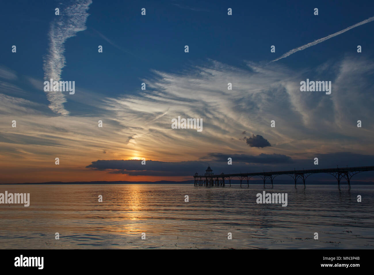 Clevedon Pier at Sunset - Stock Image