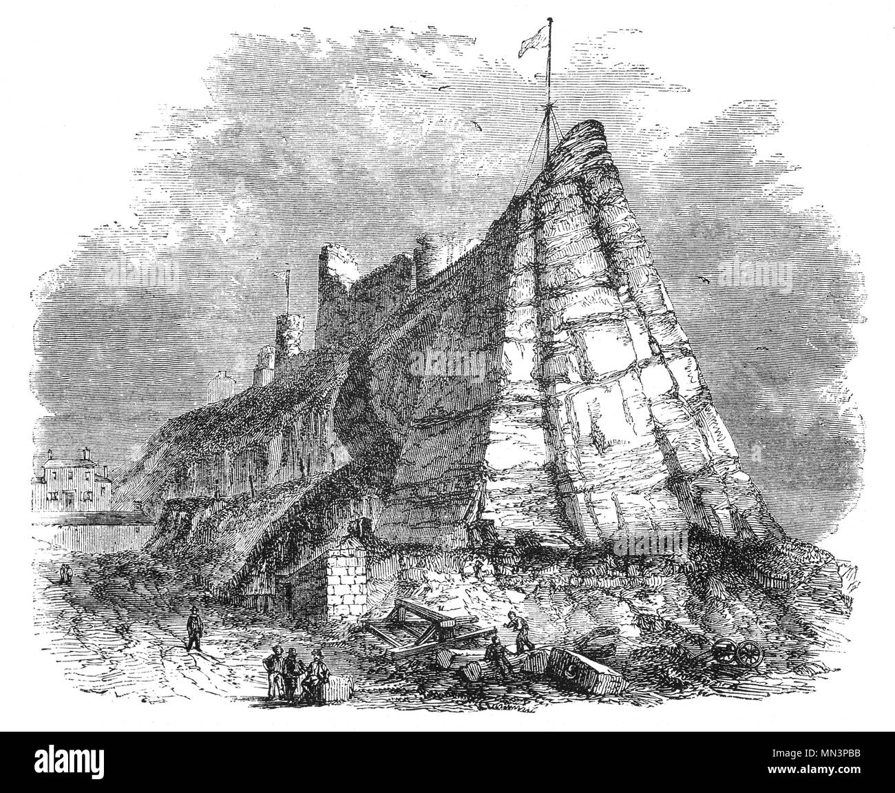 Hastings Castle was originally built as a motte-and-bailey castle near the sea. Later that year the famous Battle of Hastings took place near the Hastings castle, in which William was victorious. In 1070 William issued orders for the Castle to be rebuilt in stone. - Stock Image