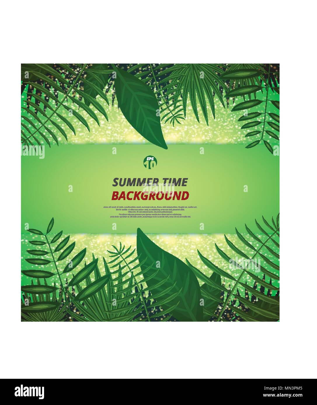 Abstract of summer time background with leaves and golden light background, Illustration vector eps10 - Stock Image