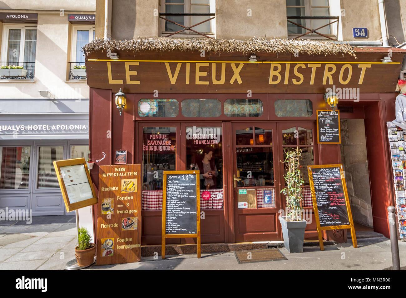 Menu blackboards outside Le Vieux Bistrot ,Rue Mouffetard, Paris, France - Stock Image