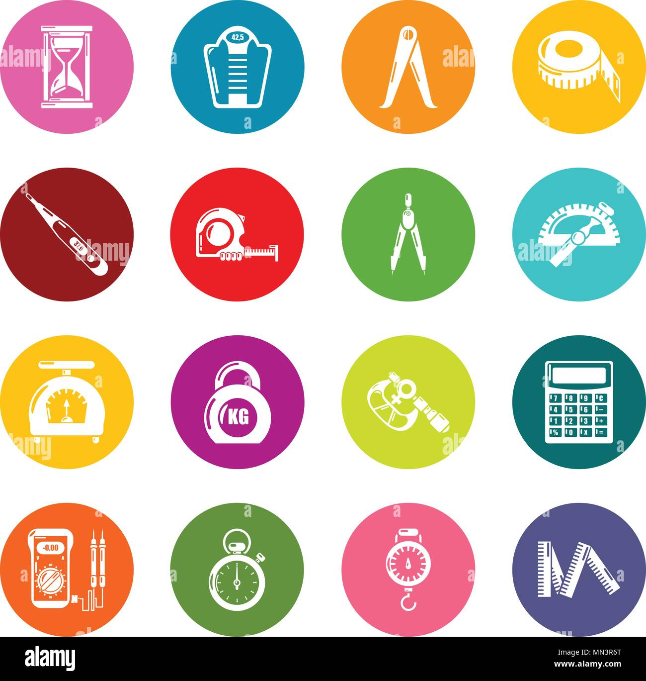 Measure precision icons set colorful circles vector - Stock Image