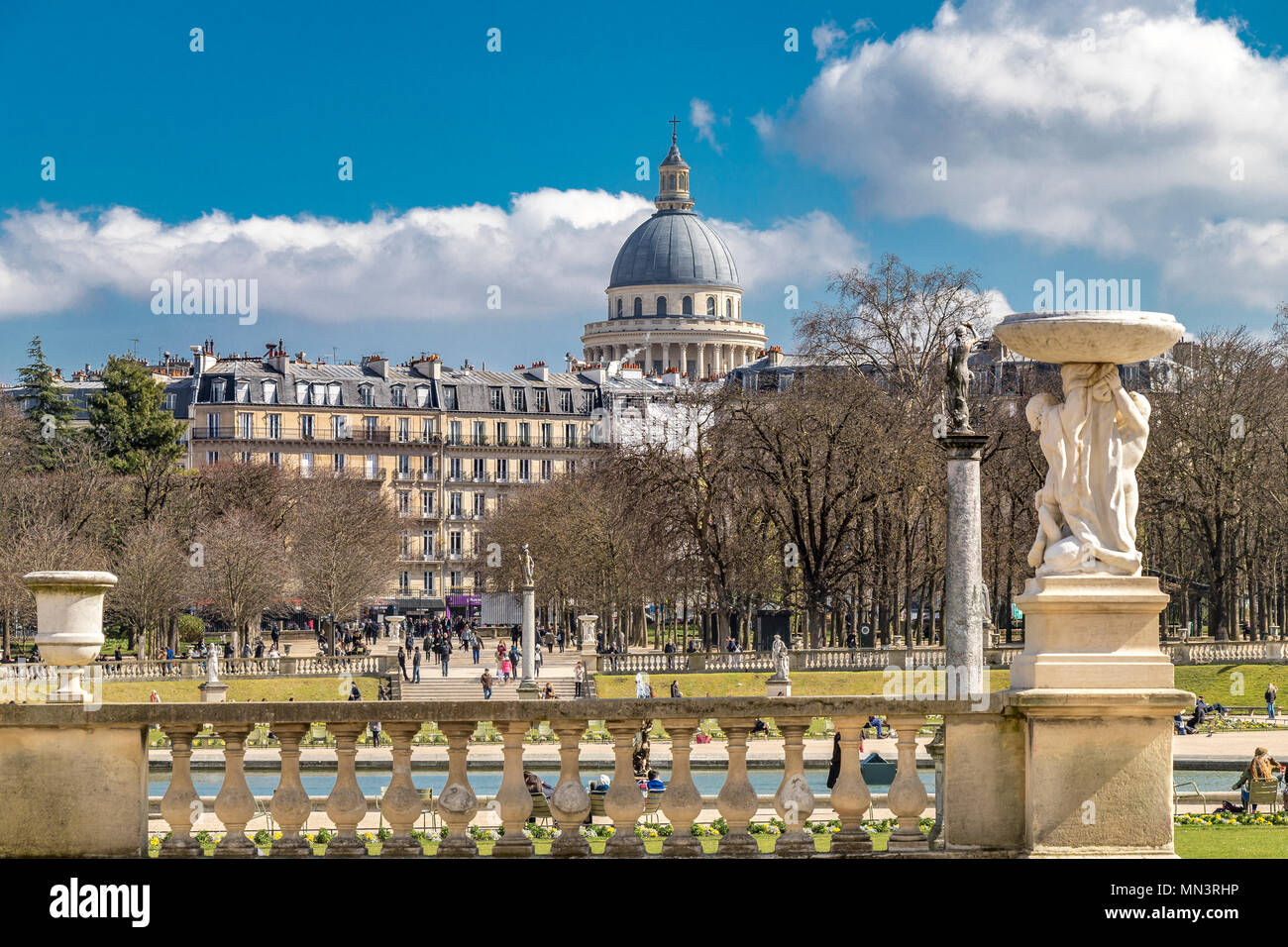 The Dome Of The Pantheon From The Jardin Du Luxembourg In Winter