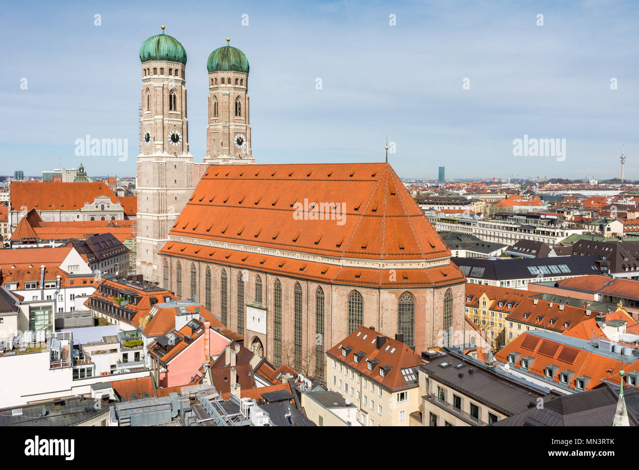 Aerial view over the city of Munich (Bavaria, Germany) - Stock Image
