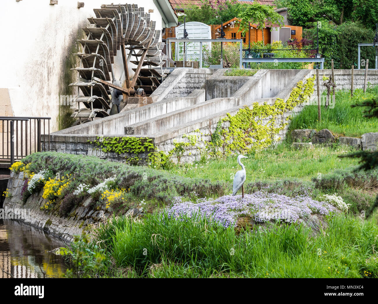 Old mill wheel, near Freiburg, Breisgau, Baden-Würtemberg, Germany Stock Photo