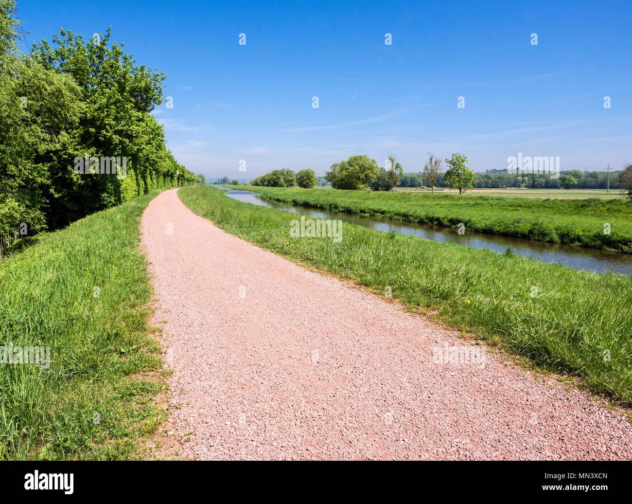 Cycle path along river Dreisam, meadows at the river, Freiburg, Breisgau, Baden-Würtemberg, Germany Stock Photo