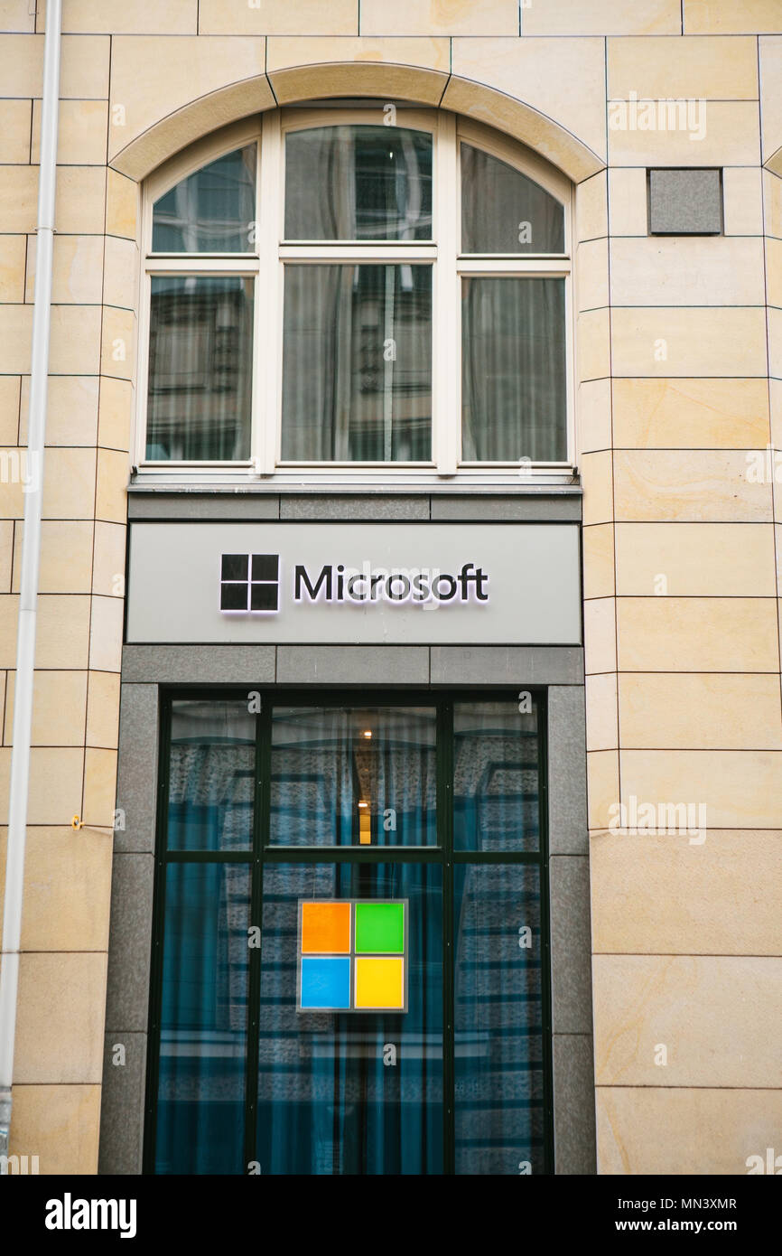 Berlin, Germany 15 February 2018: Microsoft Corporation or MS. Operating room of Windows system or multinational company on production of software for computer means and personal computers. - Stock Image