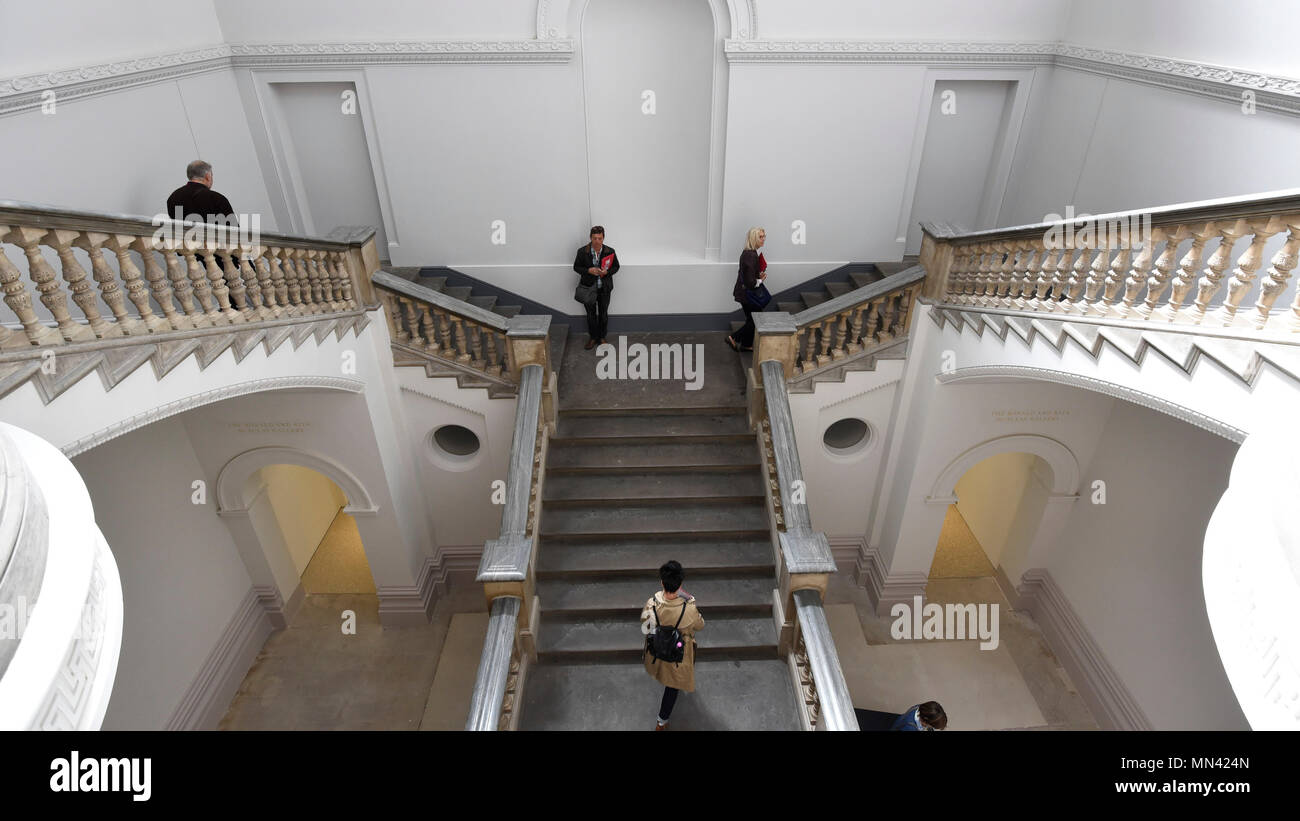 London, UK.  14 May 2018. General view of renovated staircase at a photocall for the opening of the new Royal Academy of Arts (RA) in Piccadilly.  As part of the celebrations for its 250th anniversary year, redevelopment has seen the RA's two buildings, 6 Burlington Gardens and Burlington House, united into one extended campus and art space extending from Piccadilly to Mayfair. Credit: Stephen Chung/Alamy Live News - Stock Image