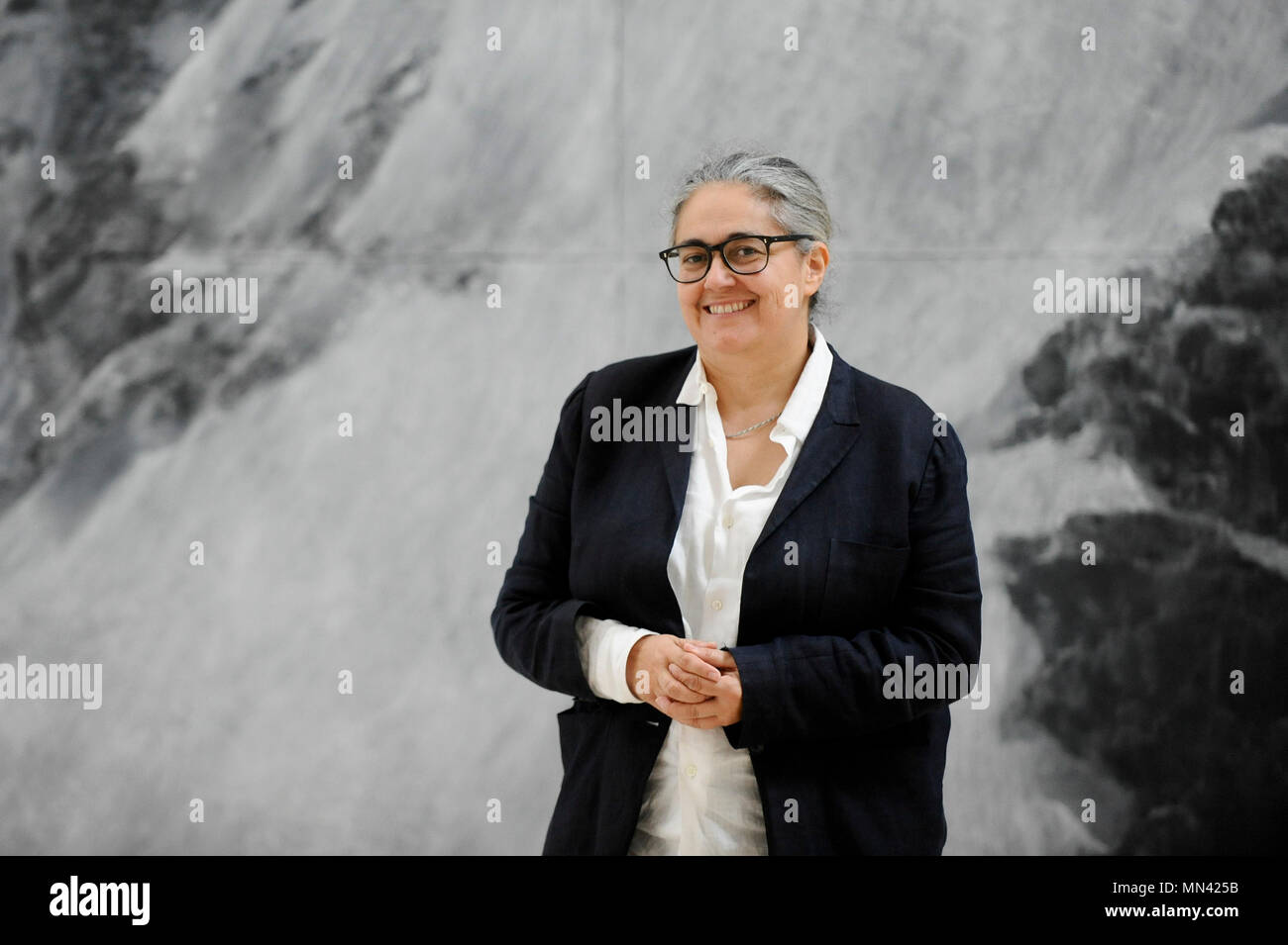 """London, UK.  14 May 2018. Tacita Dean, artist, poses with her work """"The Montafon Letter"""", 2017, in the new Gabrielle Jungels-Winkler Galleries at a photocall for the opening of the new Royal Academy of Arts (RA) in Piccadilly.  As part of the celebrations for its 250th anniversary year, redevelopment has seen the RA's two buildings, 6 Burlington Gardens and Burlington House, united into one extended campus and art space extending from Piccadilly to Mayfair. Credit: Stephen Chung/Alamy Live News Stock Photo"""