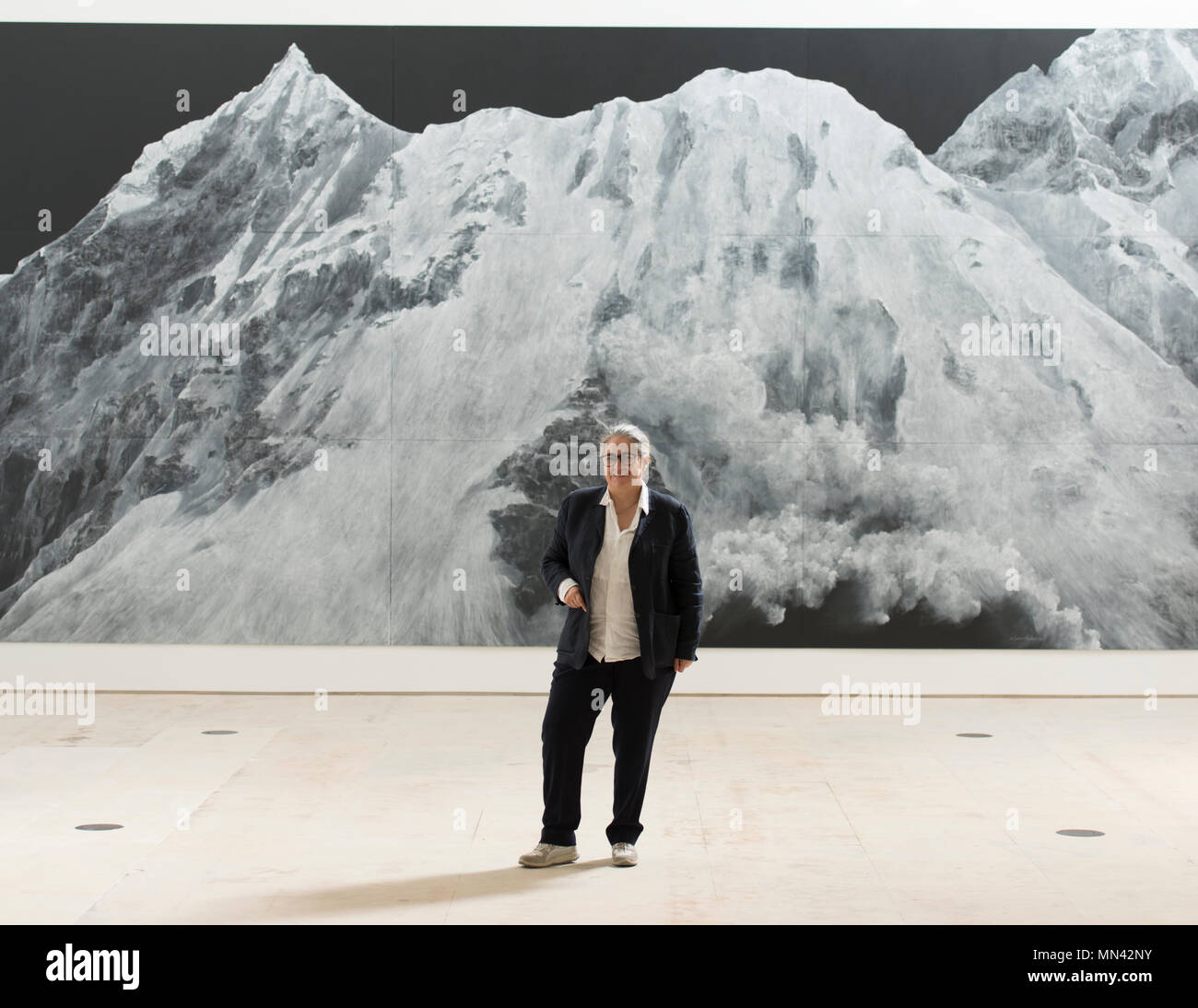 Royal Academy of Arts, London, UK. 14 May, 2018. Royal Academician Tacita Dean, whose exhibition Landscape inaugurates the new galleries, stands in front of her large chalk on blackboard work, The Montafon Letter, 2017. Glenstone Museum, Potomac, Maryland. Credit: Malcolm Park/Alamy Live News. Stock Photo