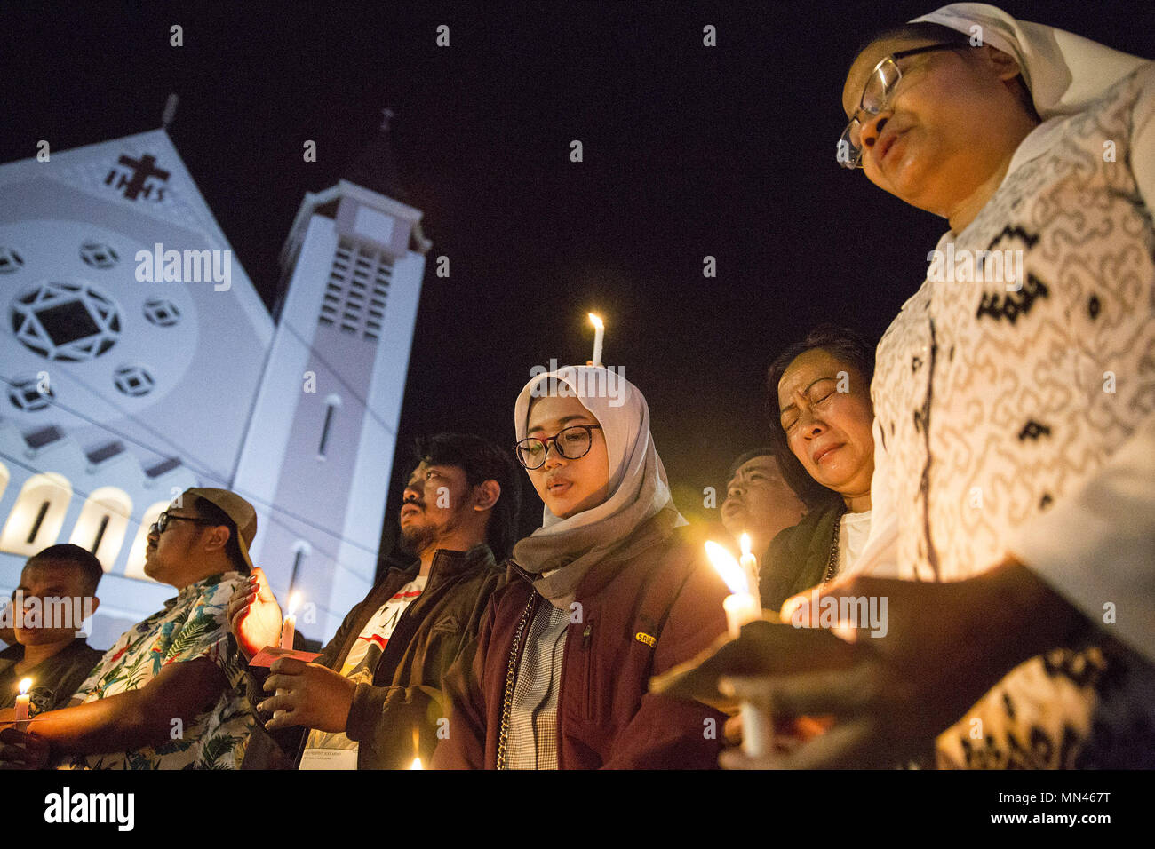 May 10 2018 Malang East Java Indonesia Malang Indonesia May 14 People Hold Candles While Following