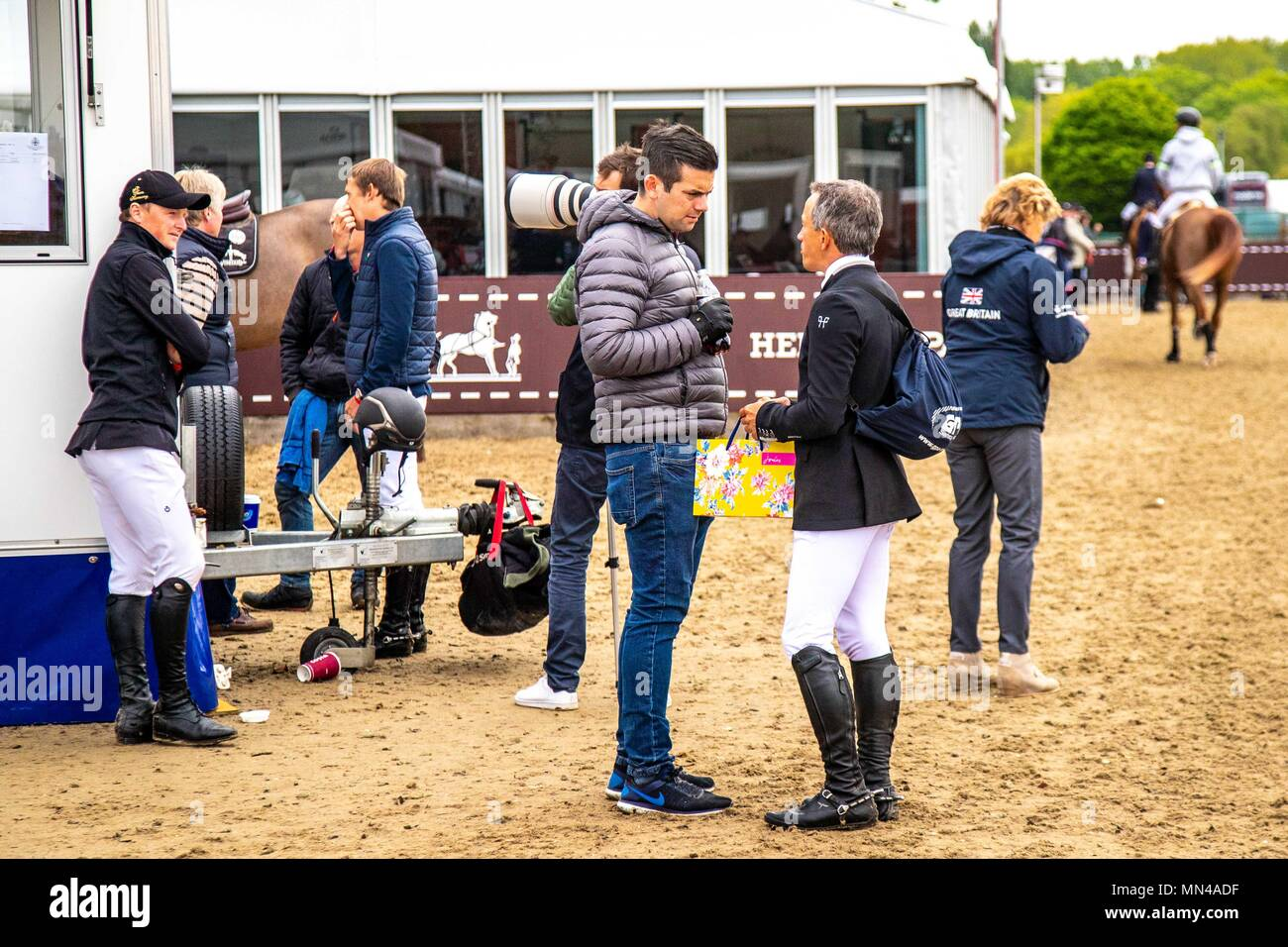 Day 5. Royal Windsor Horse Show. Windsor. Berkshire. UK.   Castle Arena Collecting ring. Olivier Robert has shopped at Joules.13/05/2018. - Stock Image