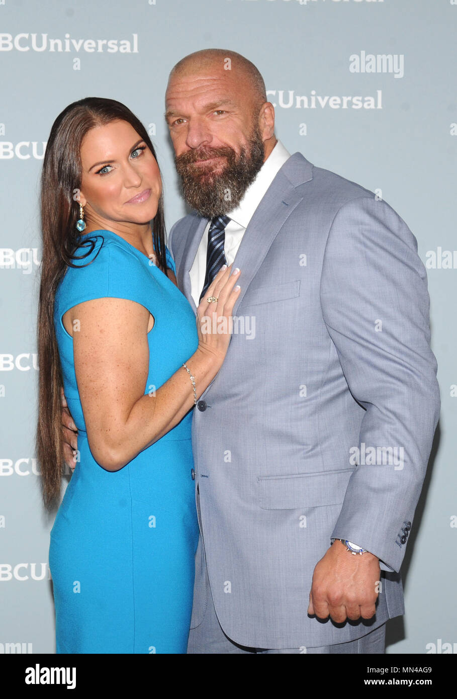New York, NY, USA. 14th May, 2018. Stephanie McMahon and HHH at the 2018 NBCUniversal Upfront at Rockefeller Center in New York City on May 14, 2018. Credit: John Palmer/Media Punch/Alamy Live News - Stock Image