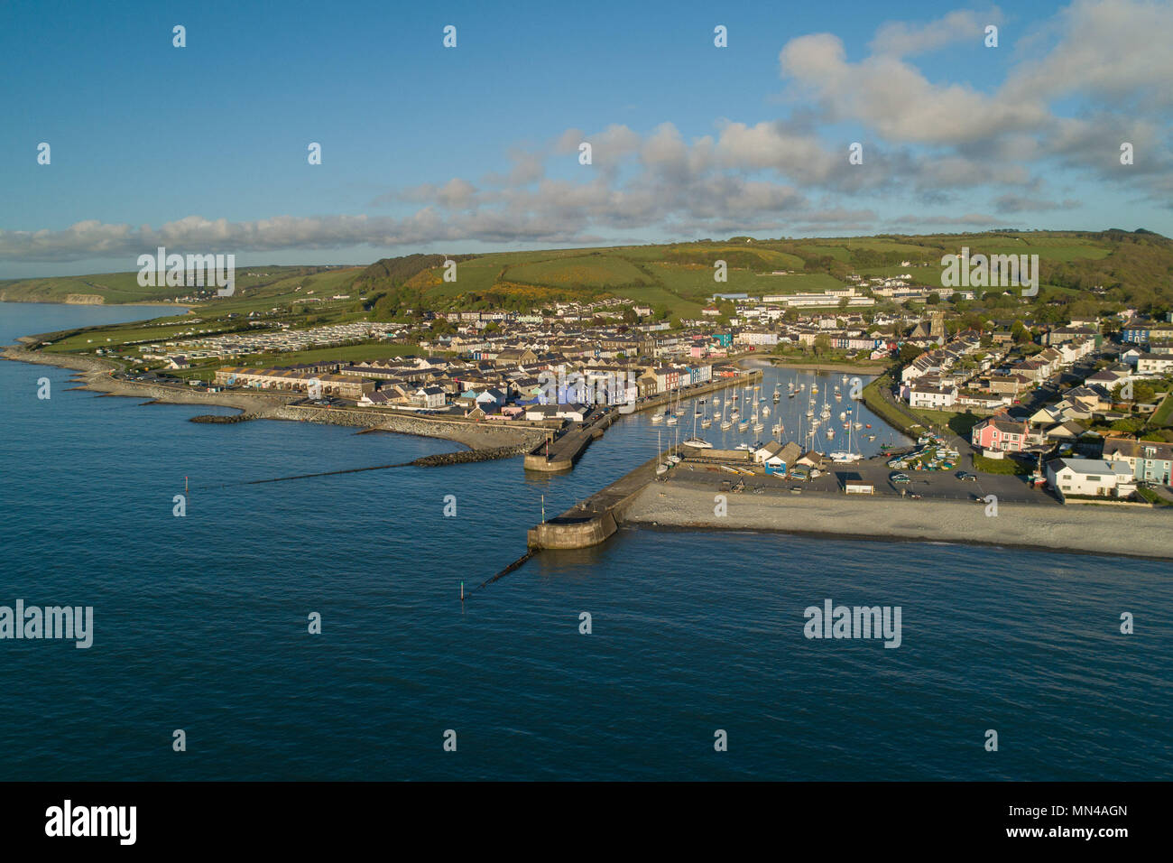Aberaeron, Ceredigion Wales UK,  Monday May 14 2018  UK weather: a gloriously sunny evening in Aberaeron, a small town on the west Wales coast, with its houses huddled around its picturesque harbour  Arial photo by CAA licenced drone pilot  photo © Keith Morris / Alamy Live News Stock Photo