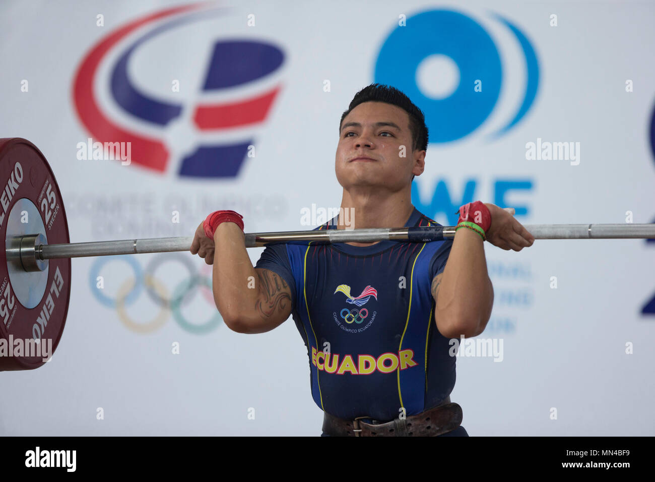 Ecuadoran Walter Zurita participates in the Senior Pan American Weightlifting Championship 2018 men's 56kgs category in Santo Domingo, Dominican Republic, 14 May 2018. EFE/Orando Barria - Stock Image
