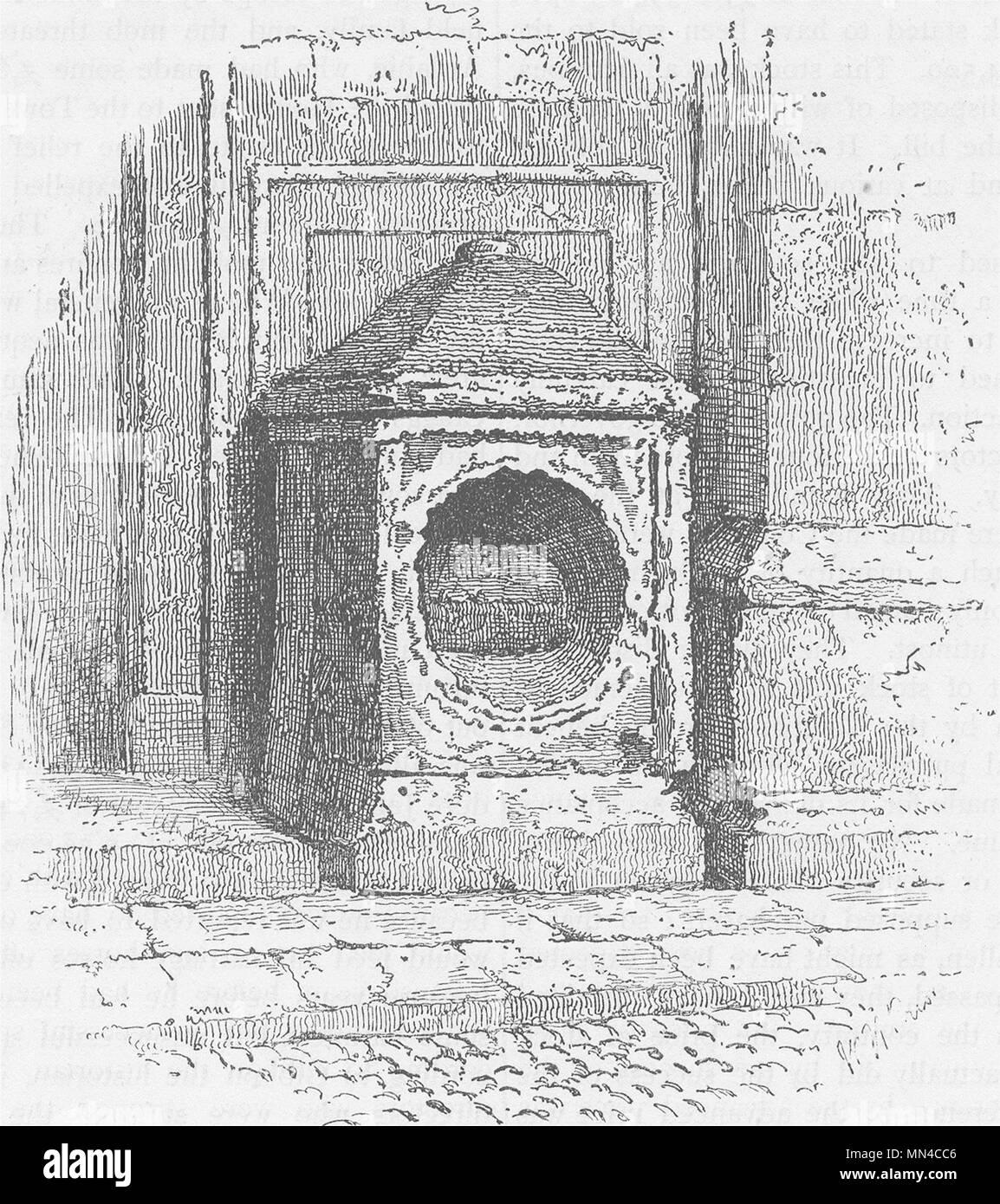 THREADNEEDLE STREET. London stone c1880 old antique vintage print picture - Stock Image