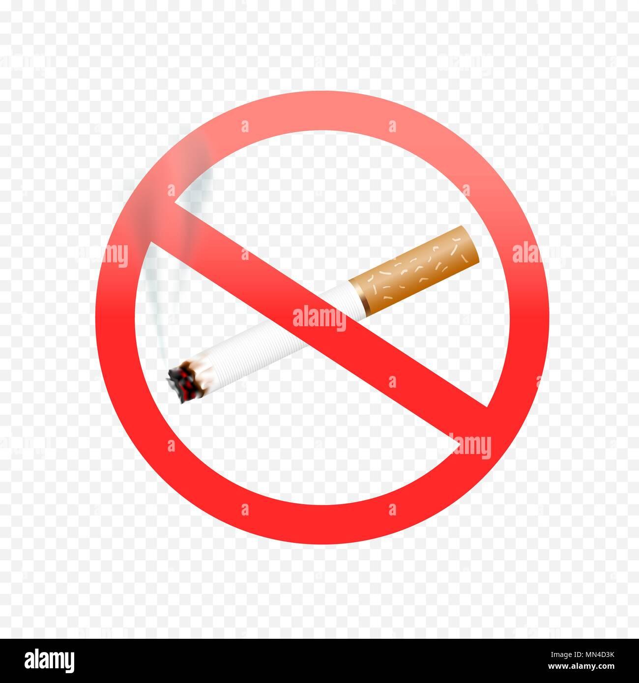 cigarette forbid sign on transparent - Stock Image