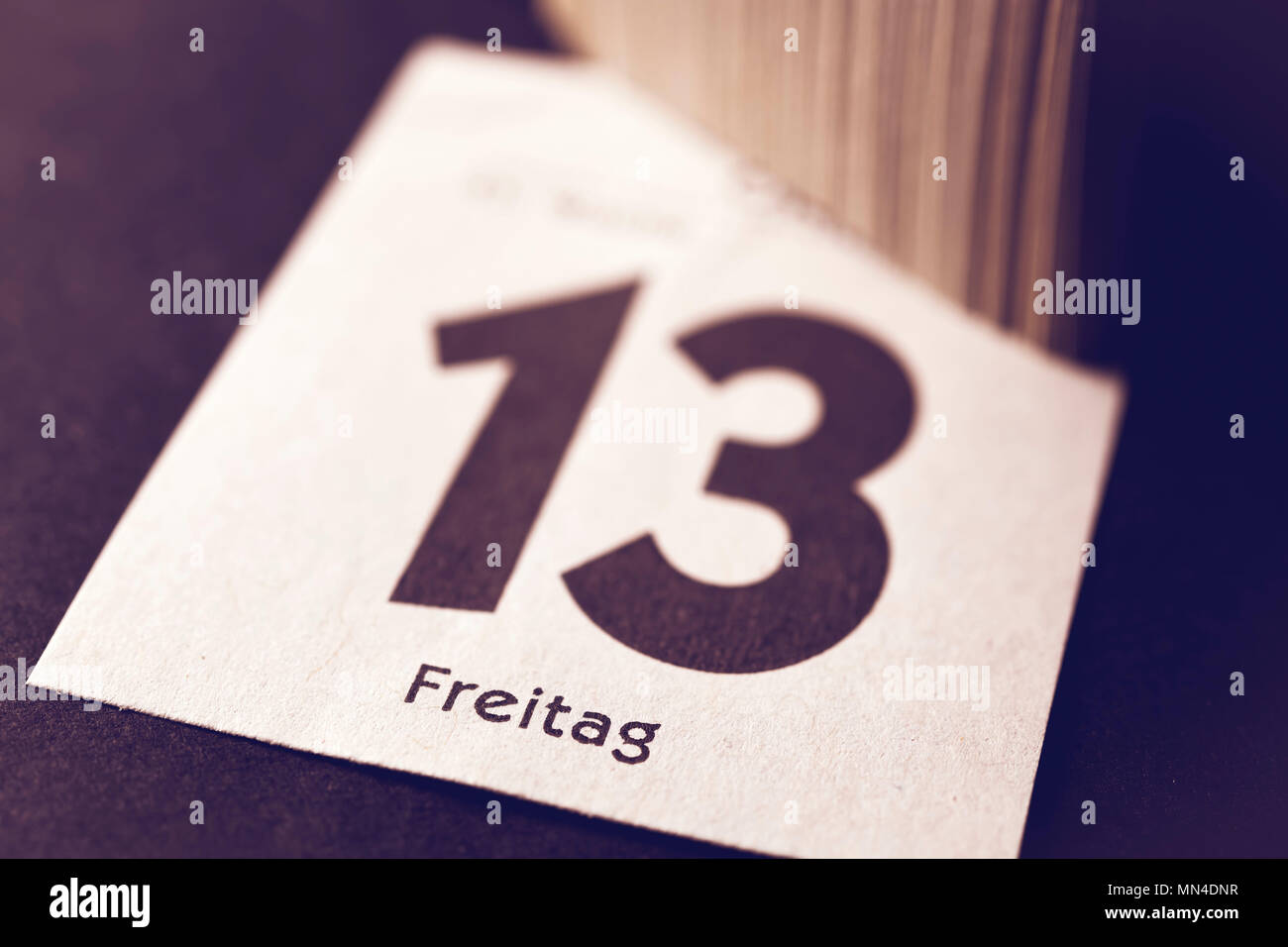 Calendar Sheet Friday the 13., Kalenderblatt Freitag der 13. - Stock Image