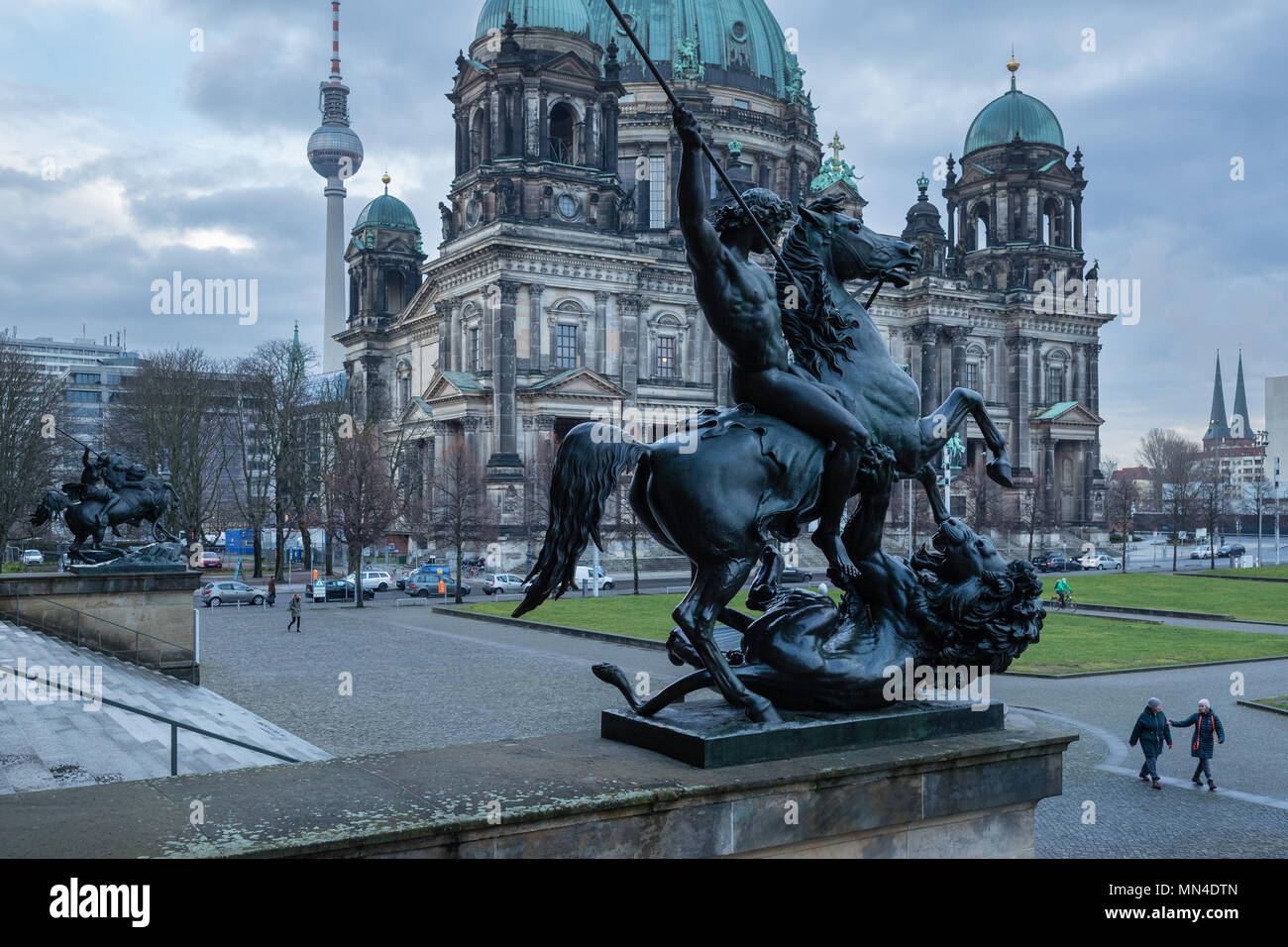 The Berliner Dom, Fernsehturm and Lustgarten from the steps of the Altes Museum, Mitte, Berlin, Germany, - Stock Image