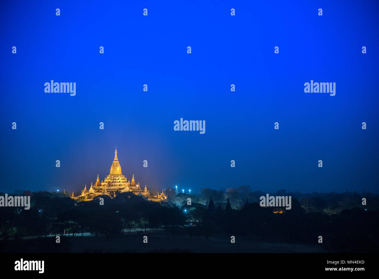 a pagoda in ancient city on the twilight time, Myanmar Stock Photo