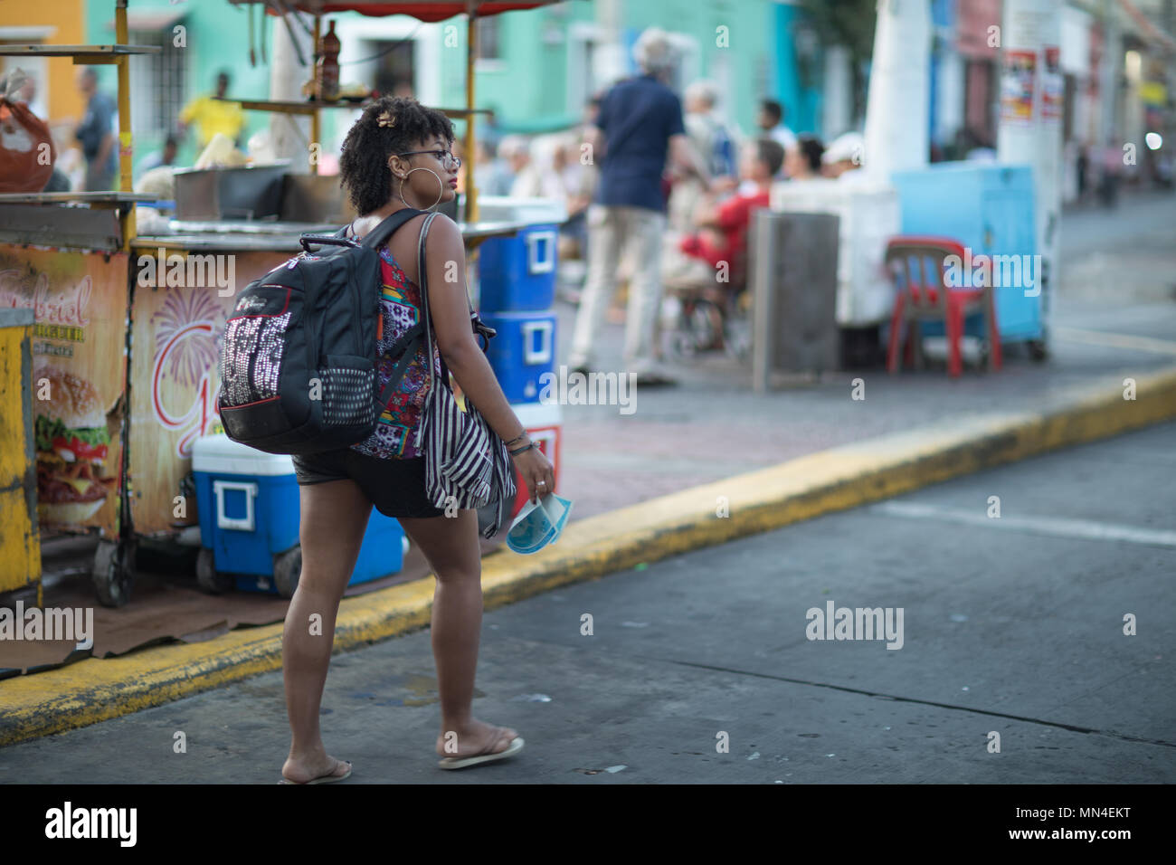 A backpacker, Getsemani, Cartagena, Colombia - Stock Image