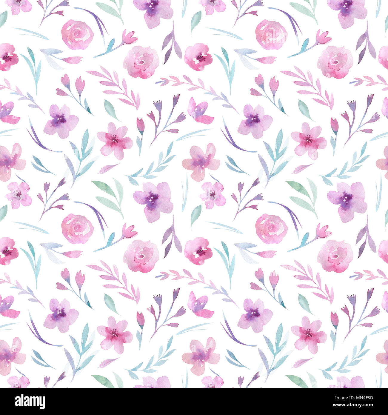 Watercolor Floral Pattern Seamless Pattern With Purple Gold And