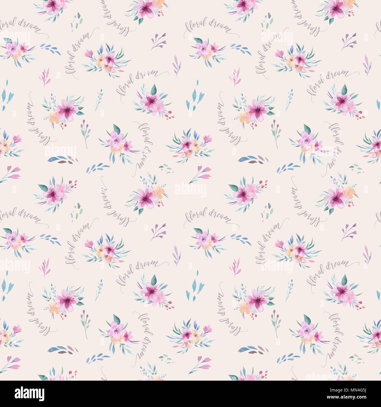 Watercolor floral pattern. Seamless pattern with purple, gold and pink bouquet on white background. Flowers, roses, peonies and leaves Stock Photo