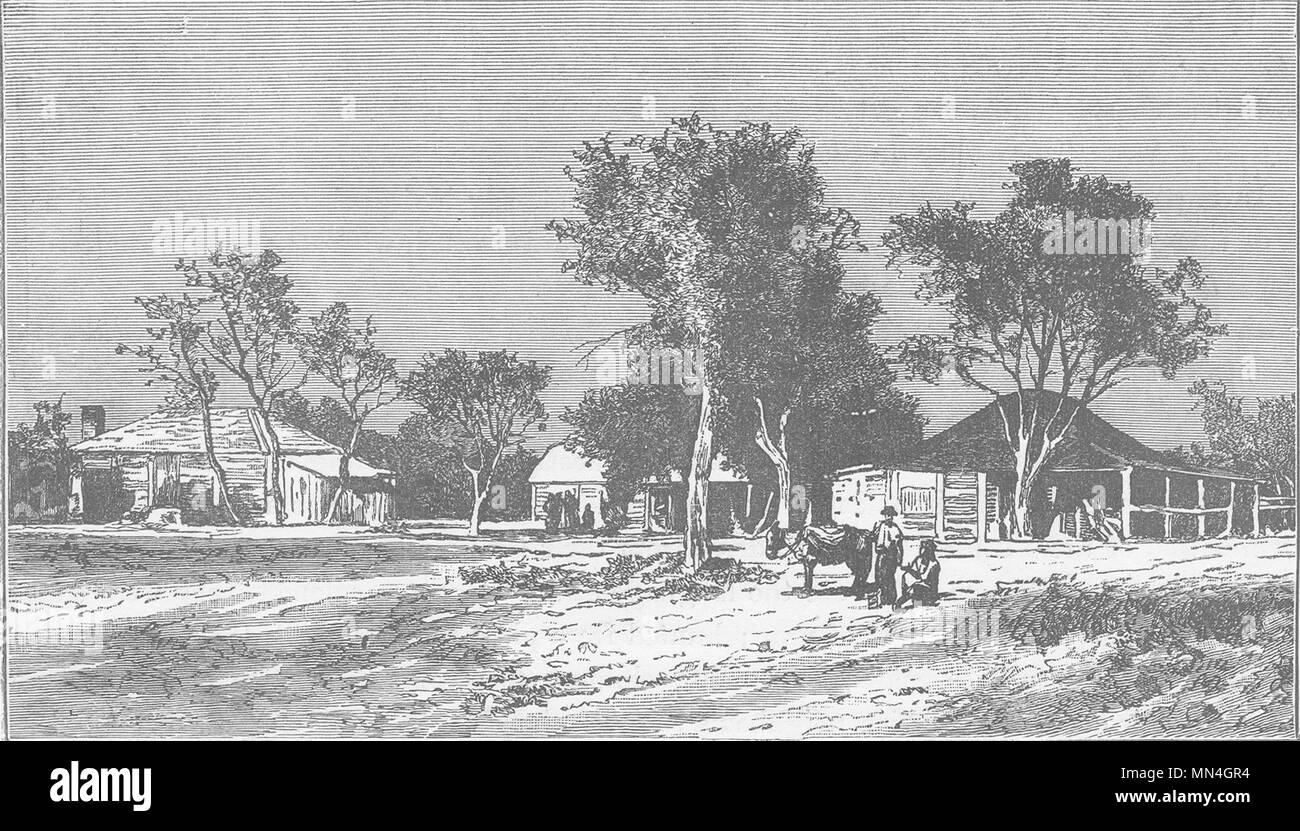 AUSTRALIA. Squatters Station on the Darling Downs, New South Wales 1890 print - Stock Image