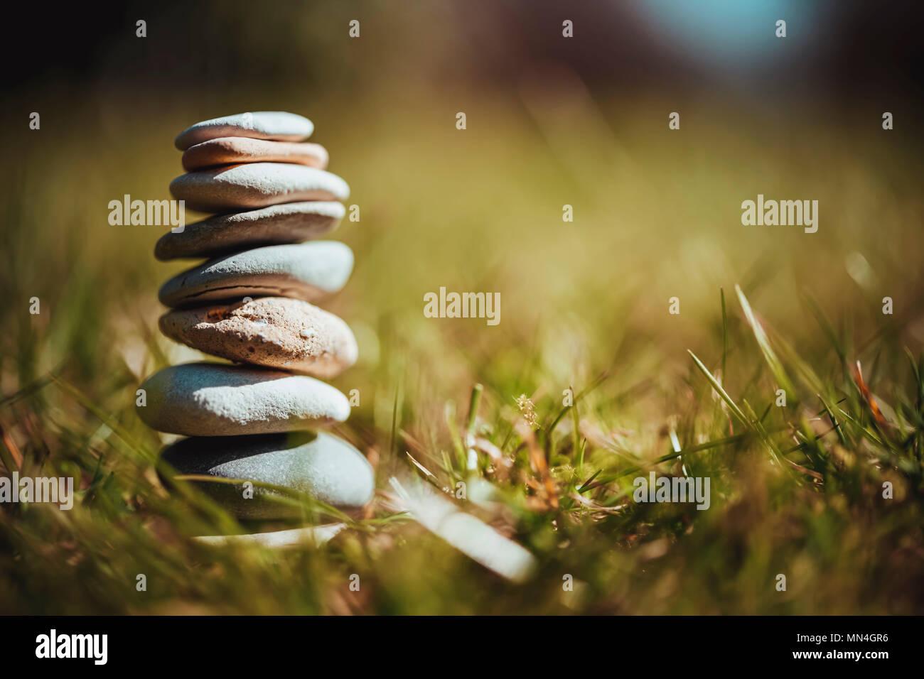 Stacked stones, tranquility, serenity, balance, Gestapelte Steine, Ruhe, Gelassenheit, Ausgeglichenheit Stock Photo