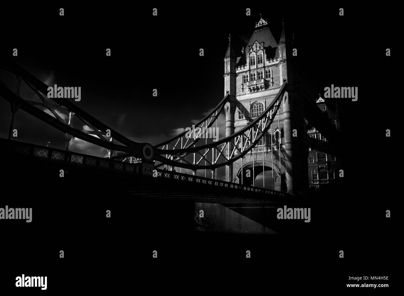Tower Bridge, London.  Fine art monochrome photograph of one of the most famous and instantly recognisable landmarks in the world. - Stock Image