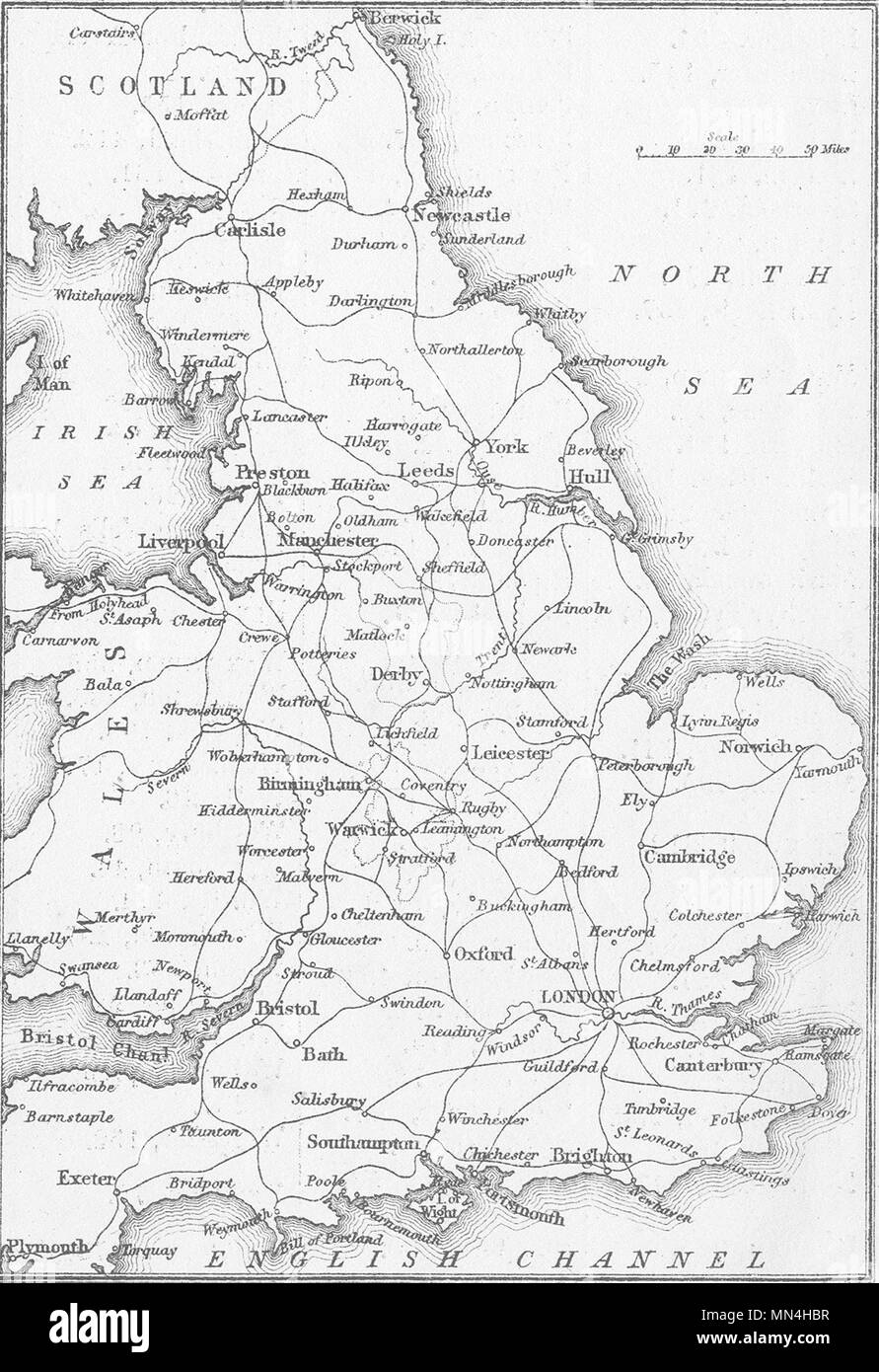 UK. Sketch map of England and Wales 1874 old antique vintage print picture - Stock Image