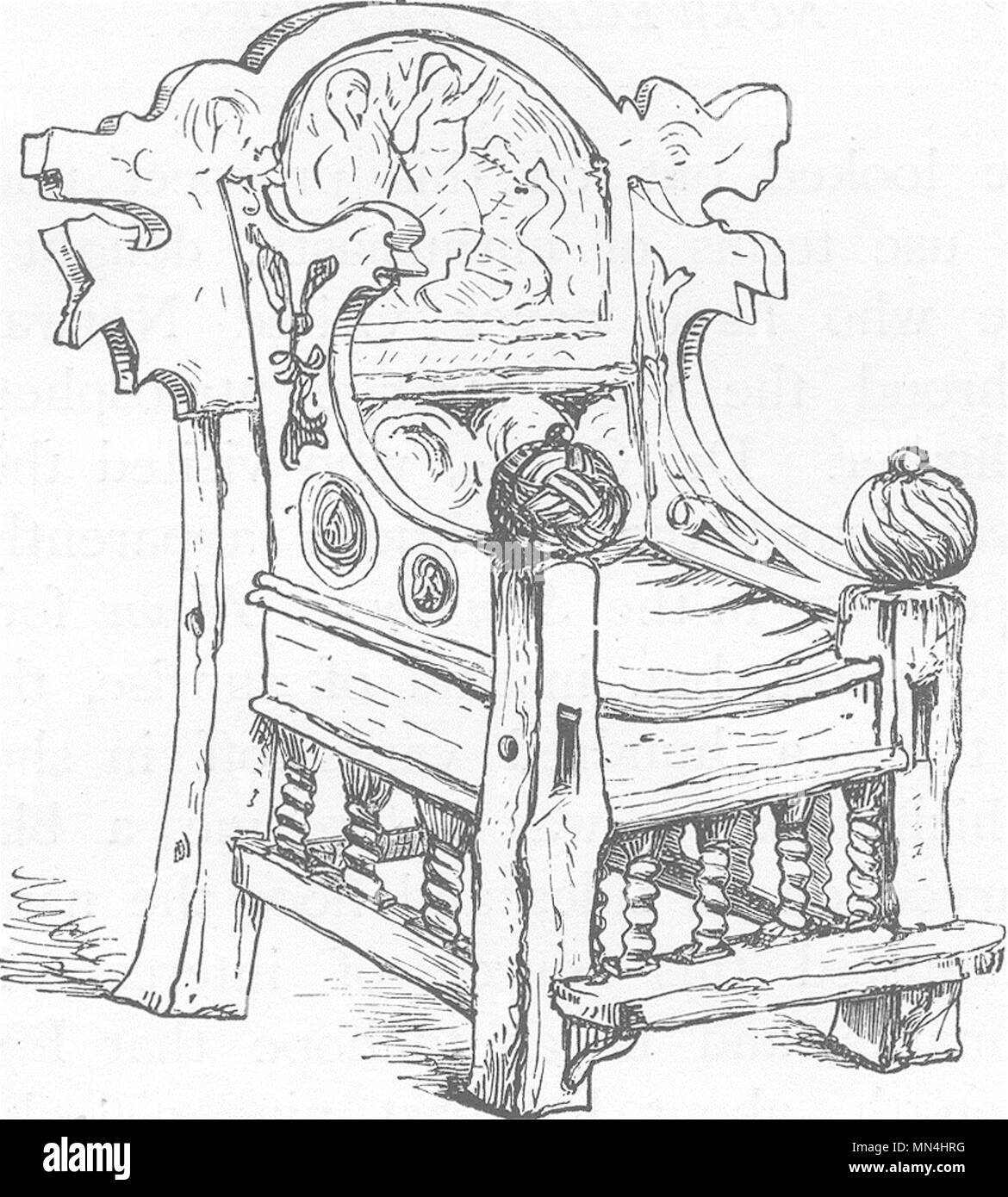 antique chair black and white stock photos images alamy England Art Deco an old chair in hitterdal church 1890 antique print picture stock image