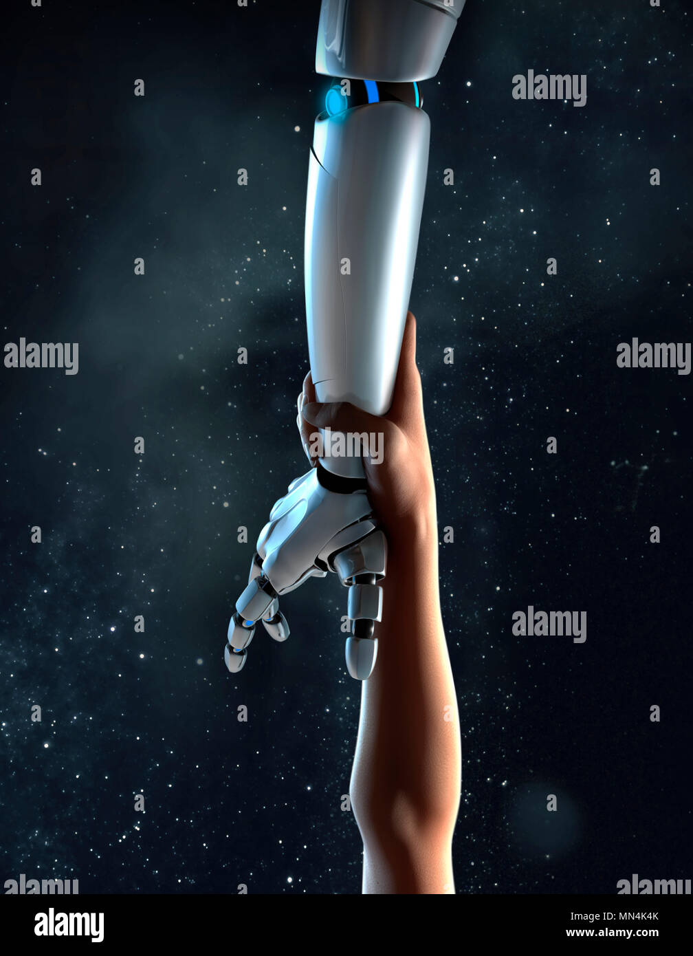 Computer generated image arm reaching for robotic arm Stock Photo