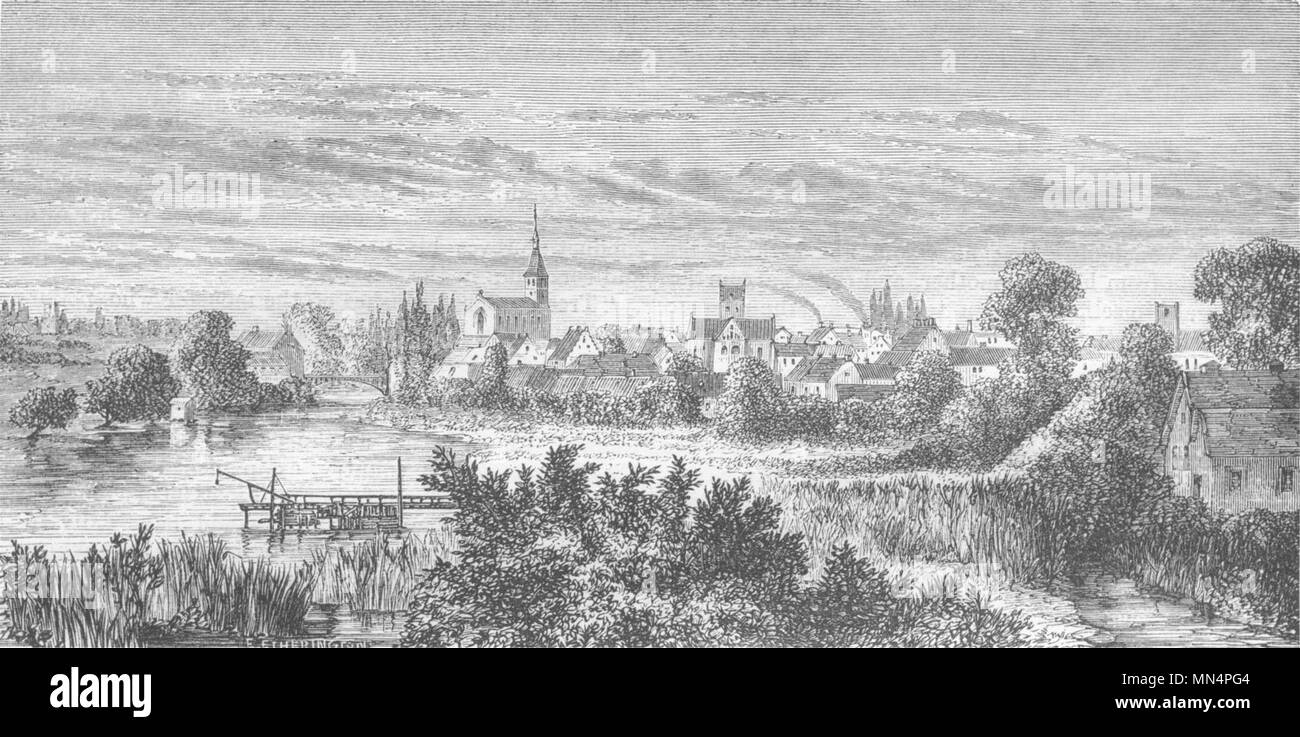 DENMARK. Odense Capital of Funen 1871 old antique vintage print picture - Stock Image
