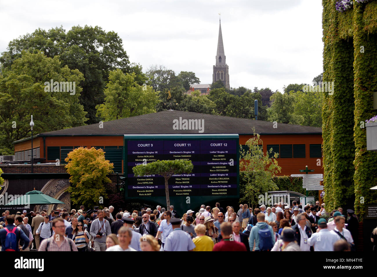 London, 3 July, 2017 - Wimbledon:  Crowds at the All England Club on the opening day of Wimbledon - Stock Image