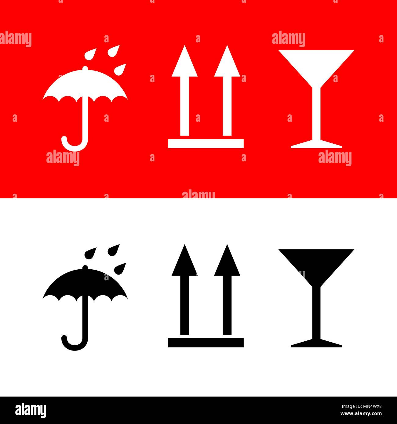 Icons umbrella, arrows up, glass of wine on white and red background. Vector set - Stock Vector
